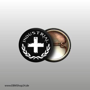 Button Industrial Cross Weiß