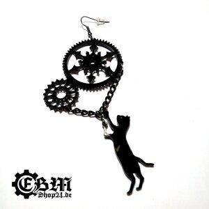 Earrings - Cat with gears